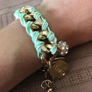Jewelry - 🌹Gold Braided Teal Bracelet with Charms